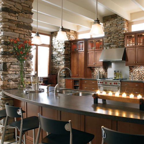 Фото декоративного камня в интерьере кухни